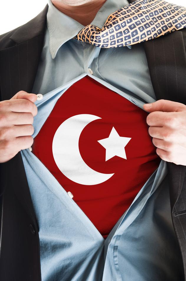 Business man showing Turkey flag shirt